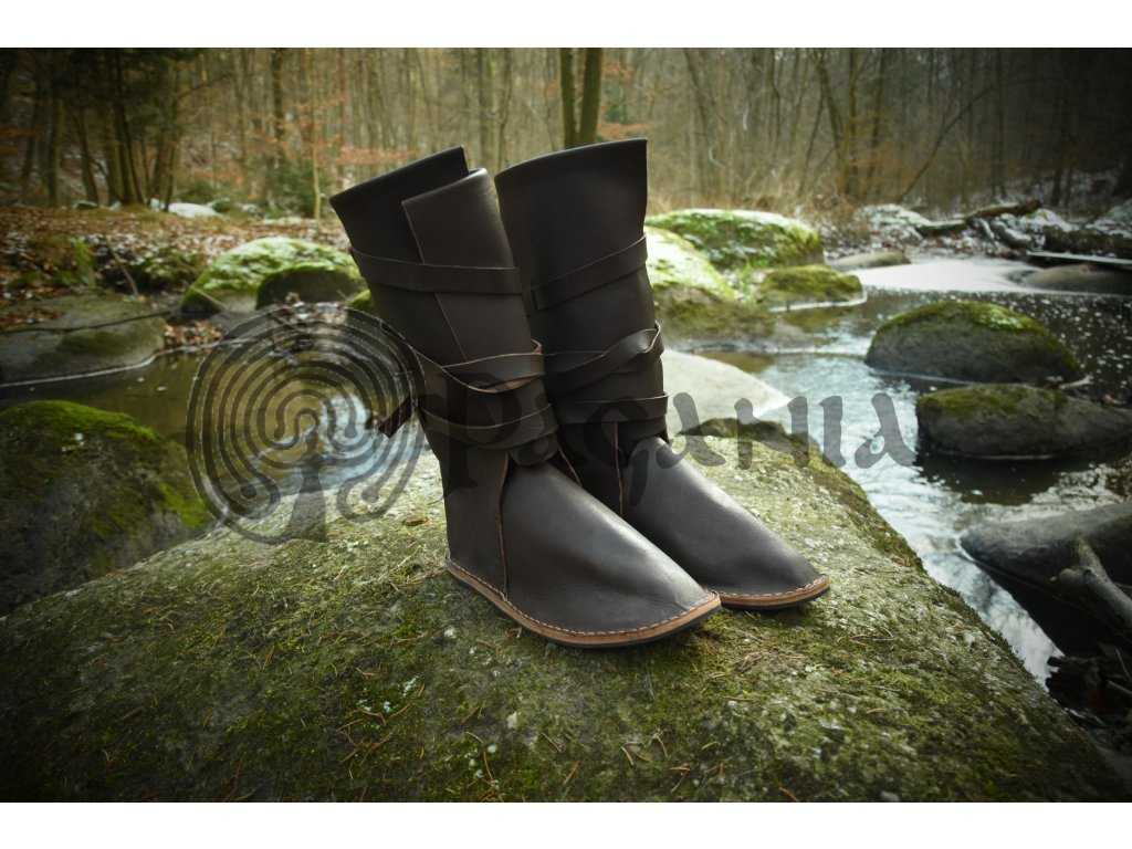 Vikingské bojové boty ručně vyrobené z hovězí kůže. Vikingské vysoké boty pro šermíře a zájemce o living history.