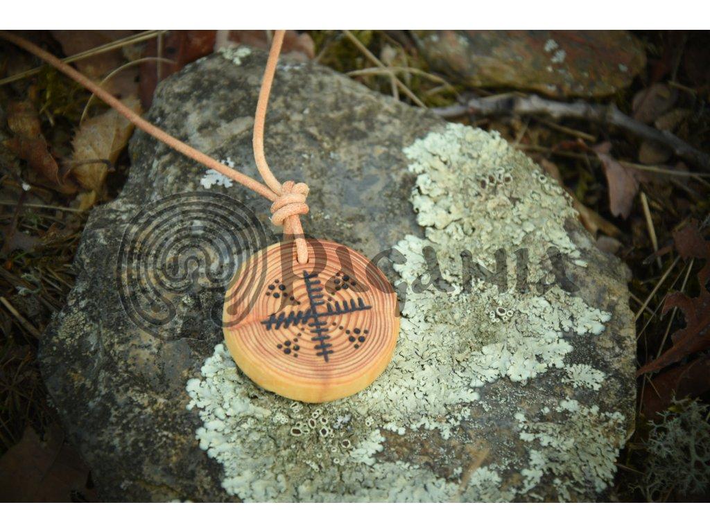 Keltský přívěsek nemeton ze dřeva modřínu zdobený motivem oghamových rodin - aicme je určený především pro kelty, ale provedení je použitelné i pro anglosasy a pikty.