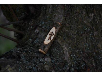 Vikingský amulet ze dřeva mladého dubu zdobený ručním výpalem se symbolem tzv. bind runes - vázaných runových znaků / sigilů. Určeno pro germány a vikingy. Použitelné pro období stěhování národů.  Význam: životní síla a energie