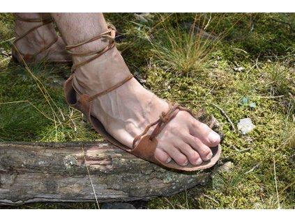 historické sandály JUTLAND - první varianta vázání
