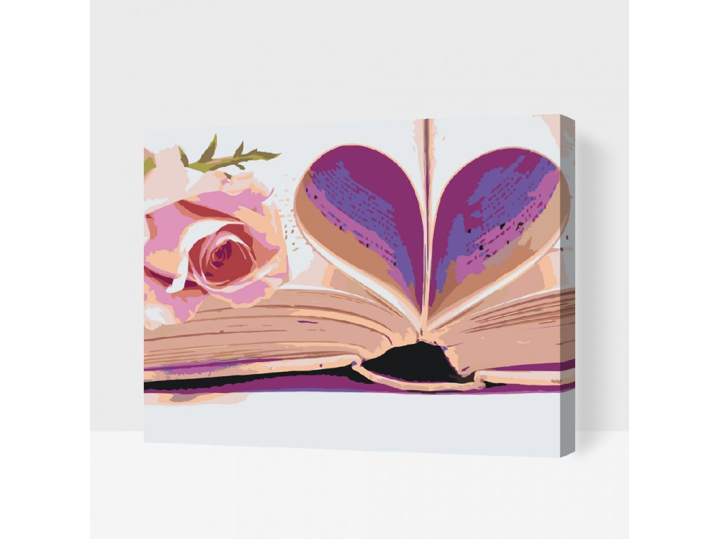 PAINT BY NUMBER - LOVE BOOK (Frame Without Frame (canvas only), Size 40x50cm (16'' x 20''))