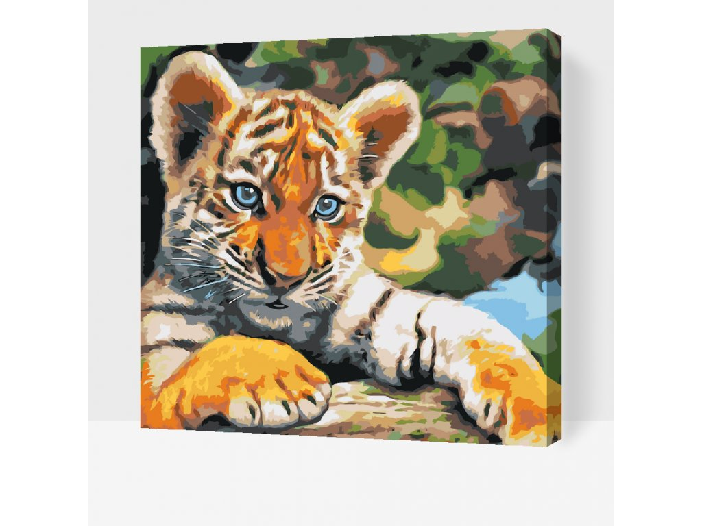 Paint by number - Tiger cub (Frame With Frame, Size 50x50cm (20'' x 20''))