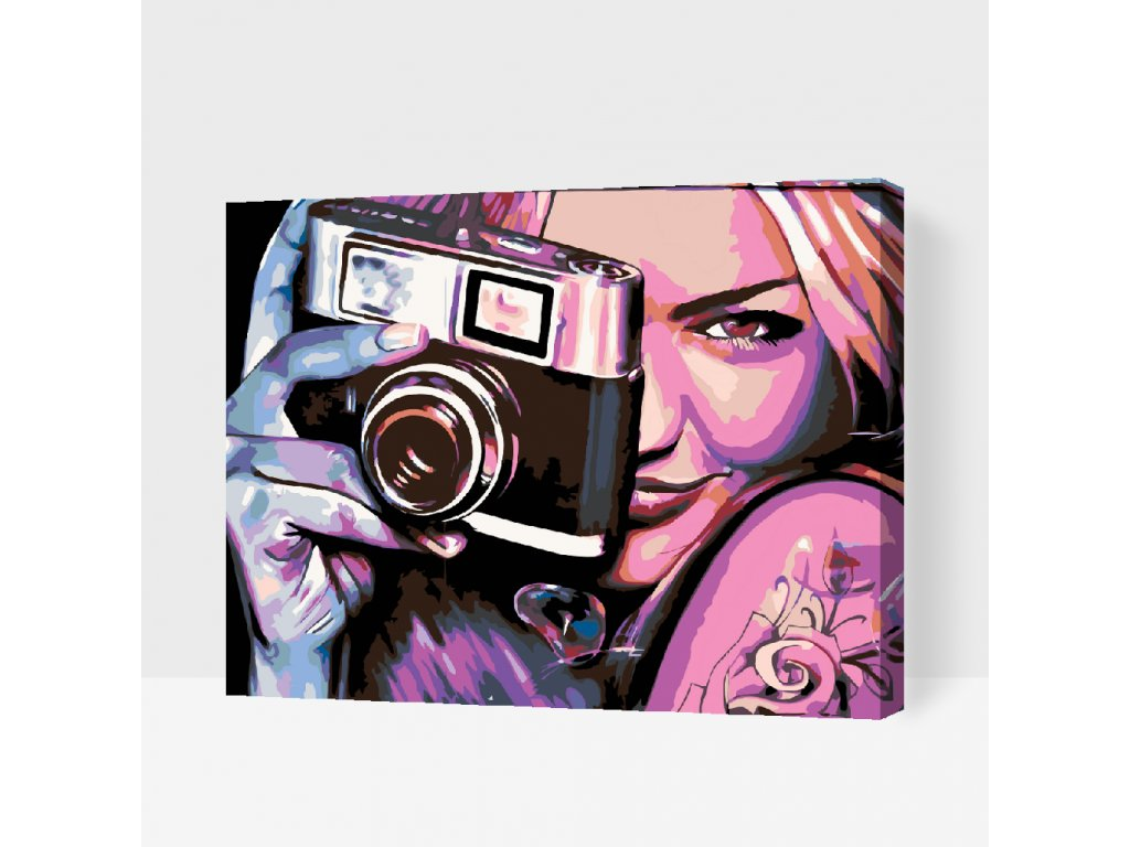 Paint by number - Girl with a camera (Frame Without Frame (canvas only), Size 40x50cm (16'' x 20''))