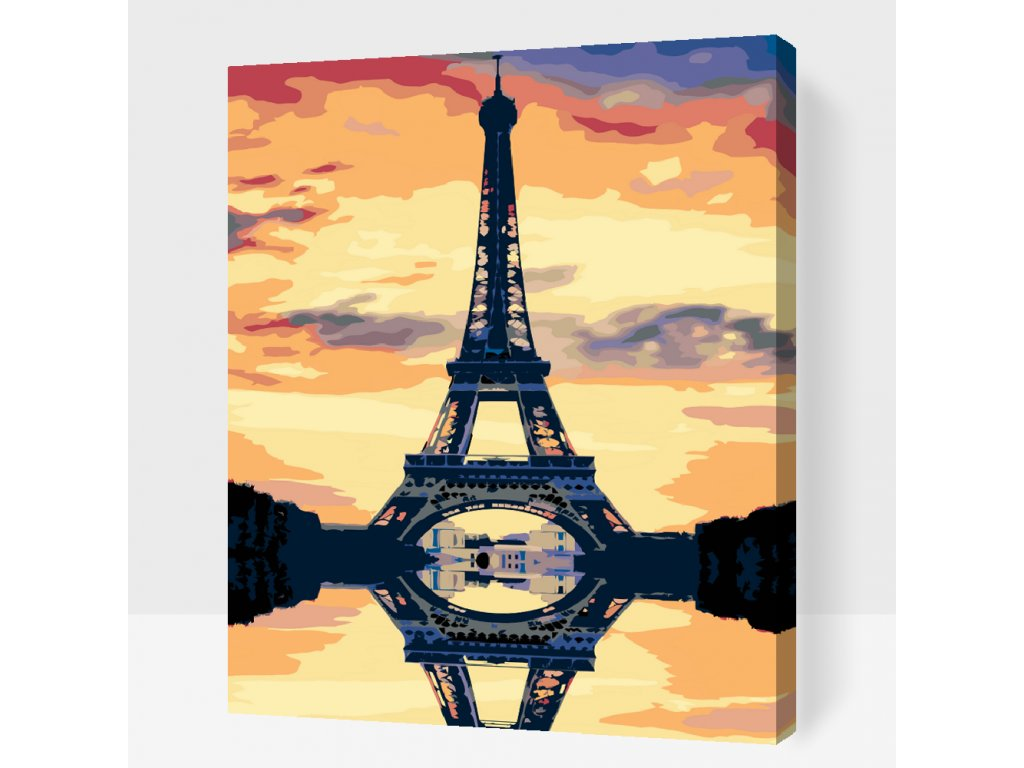Paint by number - Eiffel Tower (Frame Without Frame (canvas only), Size 40x50cm (16'' x 20''))