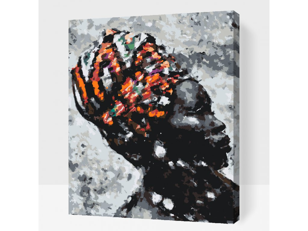 Paint by number - African Woman (Frame Without Frame (canvas only), Size 40x50cm (16'' x 20''))