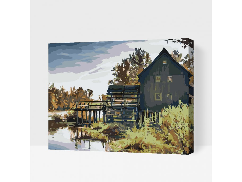 Paint by number - Water Mill (Frame Without Frame (canvas only), Size 40x50cm (16'' x 20''))