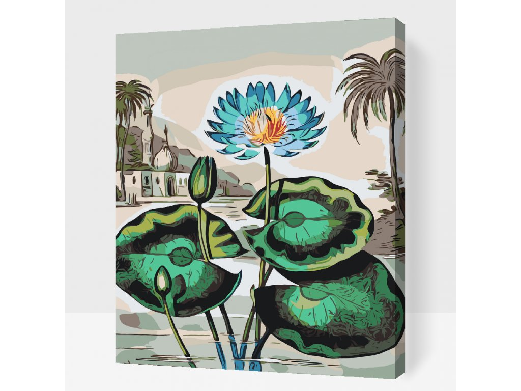 Paint by number - Blue Flower (Frame Without Frame (canvas only), Size 40x50cm (16'' x 20''))