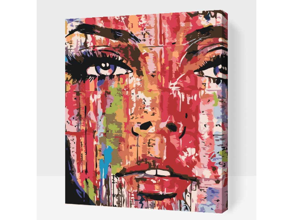 Paint by number - Painted face (Frame Without Frame (canvas only), Size 40x50cm (16'' x 20''))