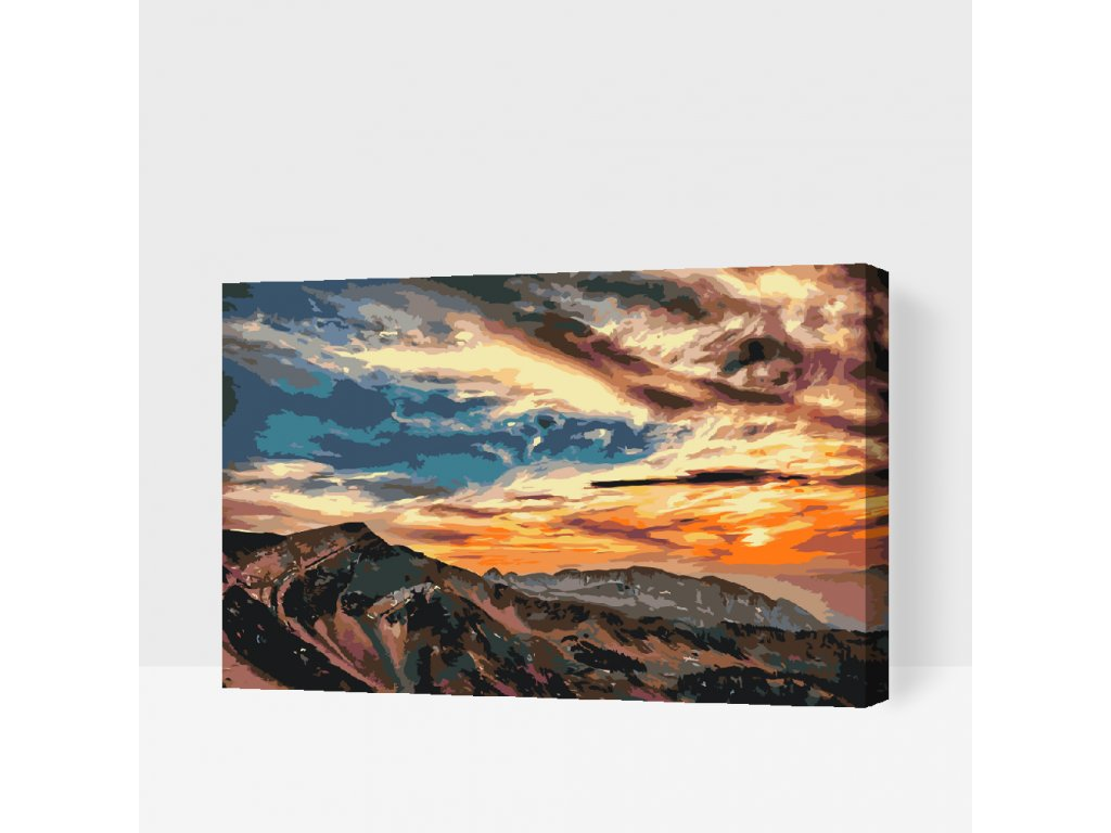 Paint by number - Sunset over the Mountains (Frame Without Frame (canvas only), Size 40x60cm (16'' x 24''))