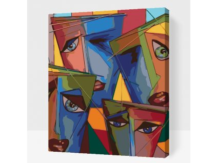 Paint by number - Abstract faces (Frame With Frame, Size 40x50cm (16'' x 20''))