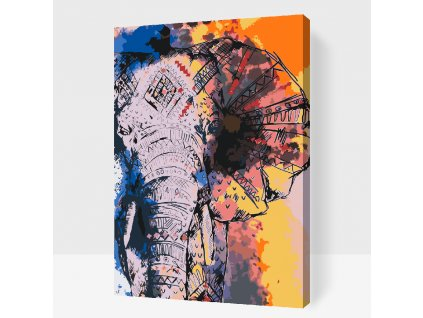 Paint by number - African Elephant (Frame Without Frame (canvas only), Size 40x60cm (16'' x 24''))