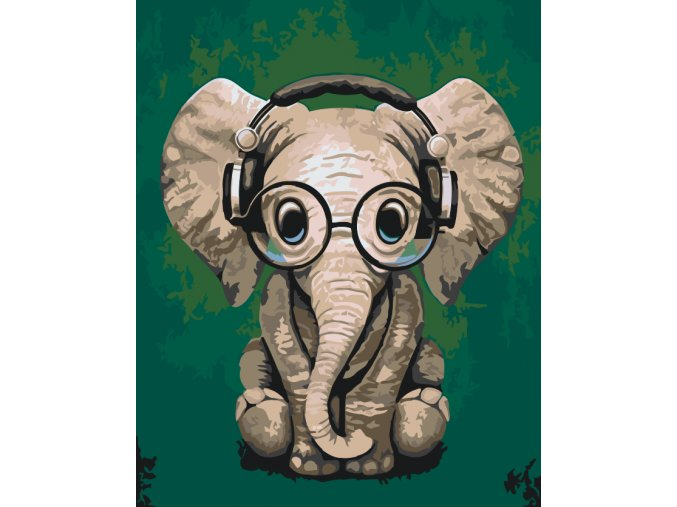 Paintby number -  Elephant with glasses (Frame With Frame, Size 40x50cm (16'' x 20''))