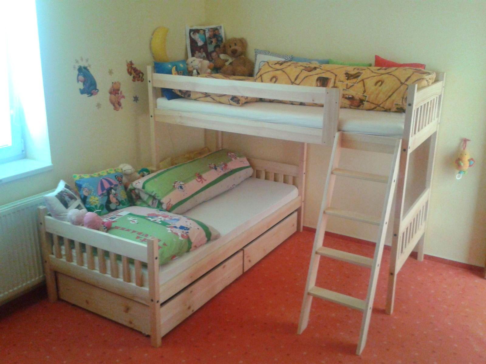Rohová patrová postel Libor