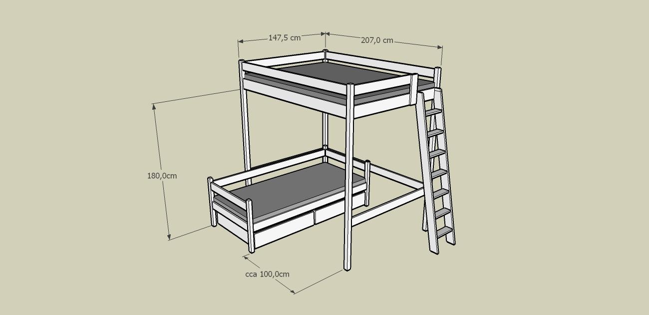 patrová postel Matouš se schody a se samostatným jednolůžkem