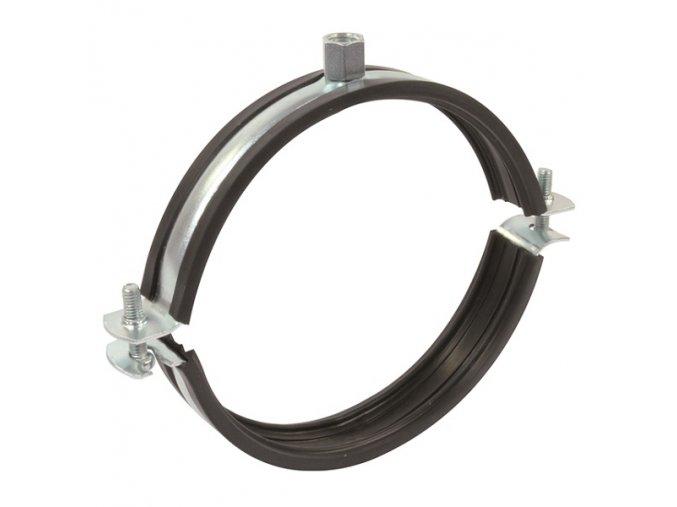 Objímka na VZT potrubí držák s gumou dvoušroubový 250 mm