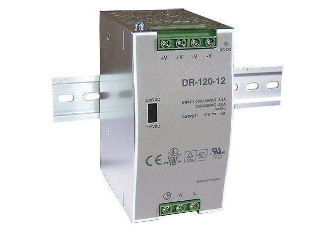 Transformátor, zdroj na DIN lištu 230V/12V, 120W DR-120-12