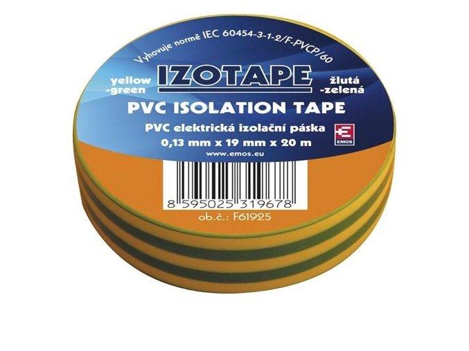 Izolační páska PVC 19mm / 20m zelenožlutá