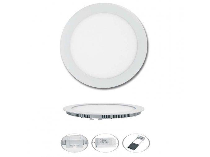 LED svítidlo LED-WSL-18W/4100/BI Kruh 22,5cm, 18W, 4100K, LADA