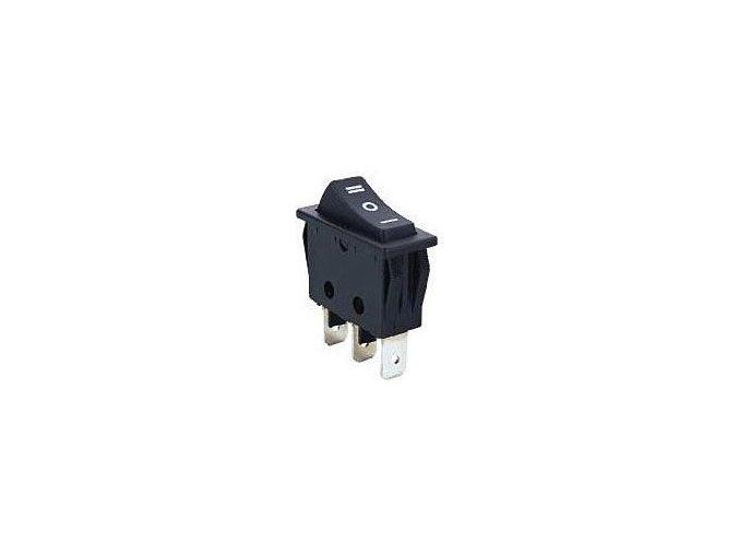Přepínač kolébkový ON-OFF-ON 1pol.250V/16A černý
