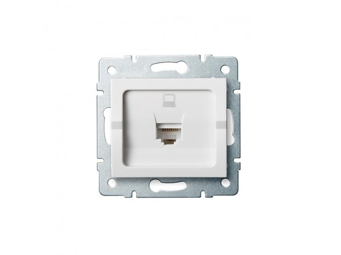 Zásuvka datová 1x RJ45 pro internet LOGI, bílá