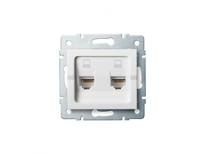 Zásuvka datová 2x RJ45 pro internet LOGI, bílá