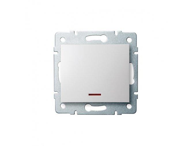 LOGI Jednopólový vypínač s LED - bílá