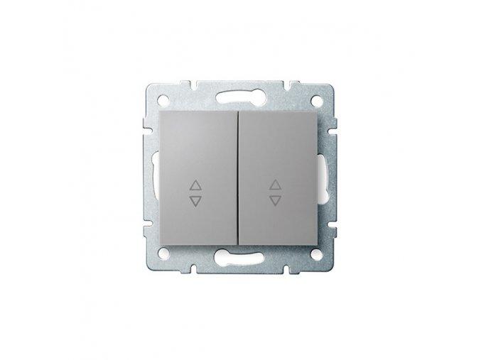 LOGI Schodišťový vypínač dvojitý - 6+6 - stříbrná