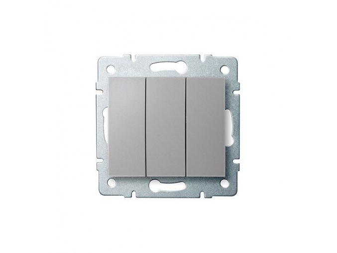 LOGI Trojitý vypínač - č. 3 - stříbrná