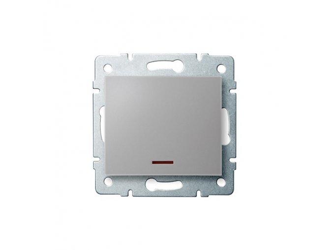 LOGI Jednopólový vypínač s LED - stříbrná