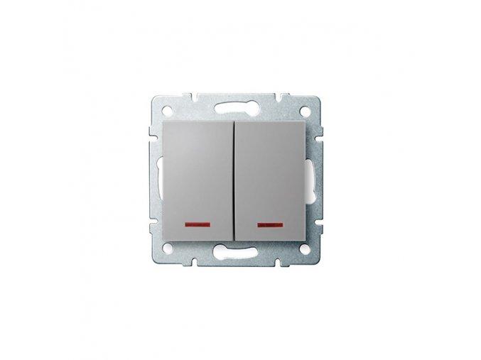 LOGI Dvojité tlačítko s LED stříbrná