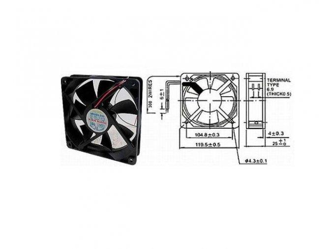 Ventilátor   12V/120x120 x 25 mm