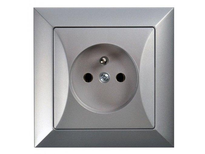 Zásuvka Opus, stříbrná 230V