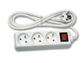 Prodlužovací kabel 1,5m 3 zásuvky s vypínačem