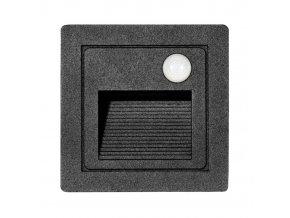 LED vestavné svítidlo s čidlem STEP 2 Z01WF/PIR-CR 85x85mm, 3W, IP54, černá matná