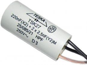 Odrušovací kondenzátor TSK27 220n+2x2n5 250VAC/6A, 3 vývody