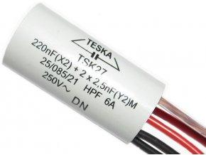 Odrušovací kondenzátor TSK27 220n+2x2n5 250VAC/6A, 5 vývodů