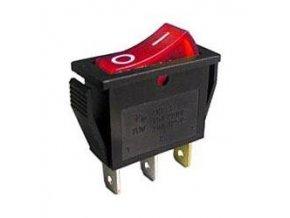 Vypínač kolébkový OFF-ON 1pol.250V/15A, červený, prosvětlení 230V