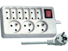 Prodlužovací přívod 1,5m-3x 3pól+6x 2pól+vypínač