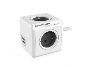 Prodlužovací kabel s USB 1,5m 4 zásuvky 2xUSB,, šedá