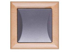 Vypínač Opus č. 6 střídavý, schodišťový, buk-grafit, dřevěný rám