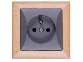 Zásuvka Opus, buk-grafit, dřevěný rámeček 230V