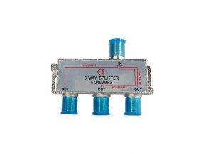Rozbočovač TV signálu 1xIN/3xOUT s F konektory, 5-2400 MHz