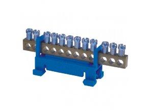 Nulovací a rozbočovací můstek N12 (12 svorek) modrý