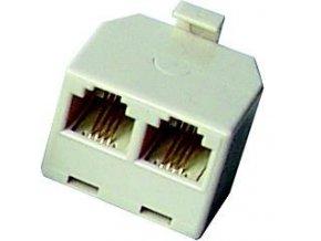 Telefonní rozbočka 6-4p RJ11 konektor - 2 x RJ11 zdířka