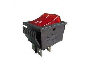 Přepínač kolébkový OF-ON 2pol.250V/15A červený