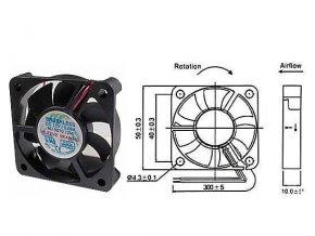 Ventilátor   12V/ 50x50 x 10 mm 5000 ot/min