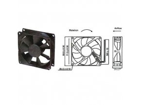 Ventilátor   12V/ 80x80 x 25 mm 2500 ot/min