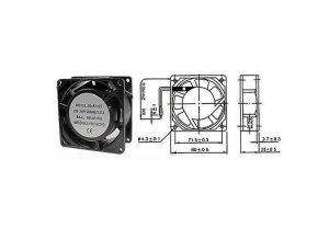 Ventilátor 230V/ 80x80 x 25 mm 2350 ot/min