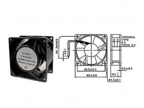 Ventilátor 230V/ 92x92 x 25 mm 2250 ot/min