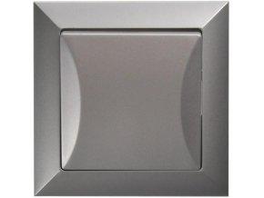 Vypínač Opus č. 6 střídavý, schodišťový, stříbrný